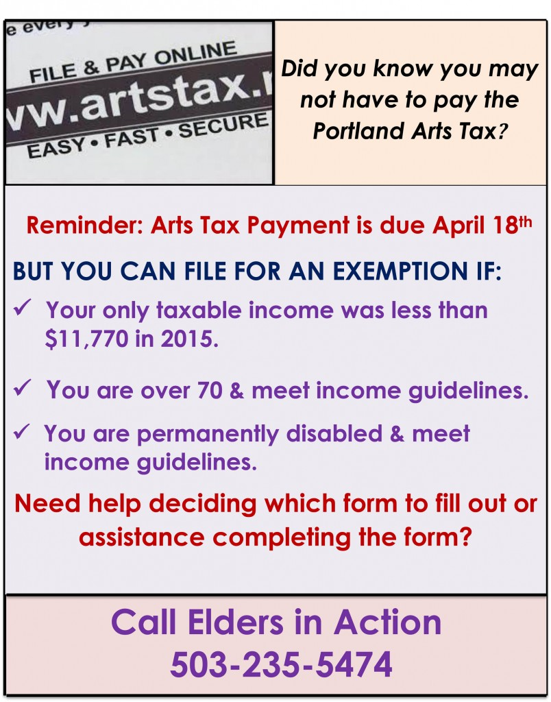 Arts Tax Flier  2016 -general